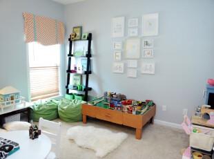 现代主义儿童房,零散的小物件收拾得十分整齐,童趣十足。,儿童房,现代,相片墙,窗帘,墙面,蓝色,绿色,白色,