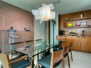 现代主义餐厅,简单、宜家。,餐厅,现代,原木色,蓝色,墙面,灯具,收纳,餐台,