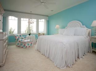 地中海风格的卧室,蓝天、白云、沙滩,所有海边的元素都具备了,卧室有种柔和的自然气息。,卧室,地中海,白色,蓝色,墙面,