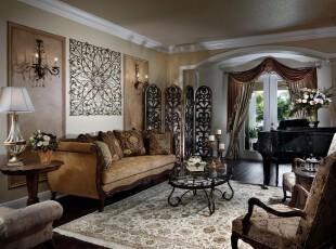 新古典主义客厅,典雅、豪华。,客厅,新古典,墙面,灯具,窗帘,原木色,黄色,