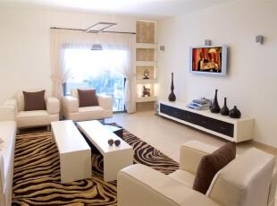 白色客厅,客厅,地台,现代,简约,白色,