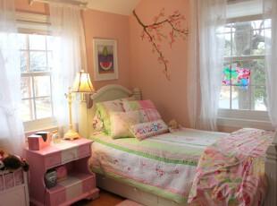 田园式儿童房,清新自然。,儿童房,田园,宜家,粉色,绿色,春色,白色,窗帘,灯具,