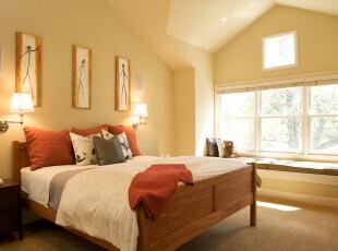 现代中式阁楼,黄色的墙面明快清新,飘窗的设计也给阁楼带来更充足的阳光。,阁楼,卧室,现代,中式,墙面,相片墙,飘窗,灯具,黄色,春色,白色,红色,