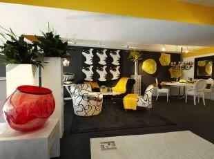 ,客厅,简约,黄色,黑白,