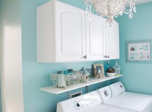 地中海风格的洗衣房,洁净,清新,自然。,地中海,蓝色,白色,灯具,收纳,墙面,
