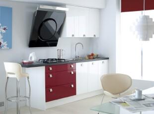 现代简约风格厨房,明亮、干净、简洁。,厨房,现代,简约,白色,红色,黑白,灯具,窗帘,