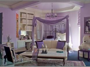欧式公主房,主色调采用紫色,这是少女的梦幻色,显得淡雅、浪漫。,卧室,灯具,欧式,墙面,紫色,白色,