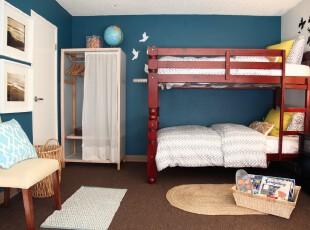 宜家风格的儿童房,有种活泼、青春的感觉。,儿童房,墙面,收纳,宜家,蓝色,白色,原木色,
