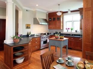 现代风格厨房,原木带来自然的气息,开放式的设计让空间更加开阔。,厨房,现代,原木色,春色,白色,灯具,墙面,
