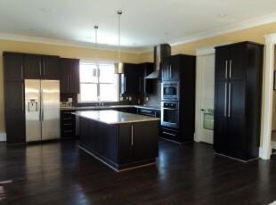 纯黑色调的现代简约式厨房,不参杂多余色彩,更显豪华大气。,厨房,现代,简约,黑白,灯具,