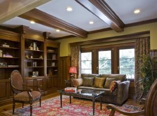 新古典主义书房,高雅、大气。,书房,新古典,窗帘,墙面,收纳,原木色,