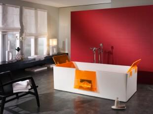 """现代简约风格卫生间,大空间采用""""减少""""设计,既显宽敞又明亮。,卫生间,现代,简约,窗帘,灯具,墙面,红色,白色,黑白,"""