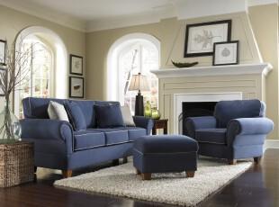 地中海风格客厅,柔和的色调和大气的家具组合表现出主人对纯美自然的追求。,客厅,地中海,蓝色,白色,黄色,原木色,相片墙,墙面,灯具,