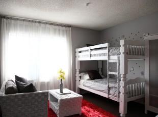 现代简约风格儿童房,洁净,精致。,儿童房,现代,简约,白色,红色,窗帘,墙面,