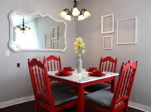简约欧式餐厅,颜色鲜艳的红色桌椅让素雅的空间变得活跃,简洁的设计颇有小资格调。,餐厅,餐台,欧式,简约,灯具,相片墙,白色,红色,