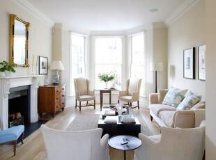 白色系简约欧式客厅,明亮宽敞。,客厅,简约,欧式,白色,黑白,飘窗,