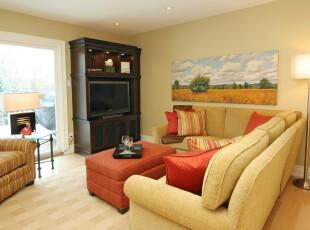 充满自然色彩的现代休息室,清新,淡雅。,现代,黄色,春色,红色,黑白,灯具,墙面,收纳,