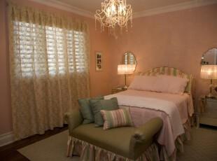现代粉色系卧室,粉色浪漫十分适合女孩的闺房。,卧室,现代,宜家,灯具,墙面,窗帘,粉色,绿色,春色,