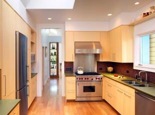 现代宜家风格厨房,轻松舒适。,厨房,现代,宜家,黄色,原木色,墙面,