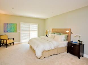 """现代简约风格卧室,将""""减少""""主义发挥到极致,非常简洁宽敞。,卧室,现代,简约,田园,白色,黄色,春色,绿色,黑白,灯具,墙面,"""