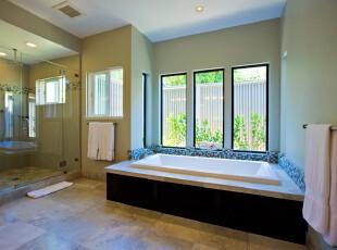 现代简约风格卫生间,整洁大方。多窗户设计还给空间提供良好的采光条件。,卫生间,现代,简约,宜家,墙面,绿色,黑白,