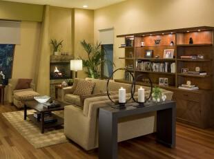 现代风格书房,豪气内敛,非常适合商务人士。,现代,书房,黄色,原木色,黑白,墙面,