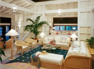极具热带风情的客厅,自然气息浓郁。,客厅,田园,灯具,墙面,黄色,白色,蓝色,