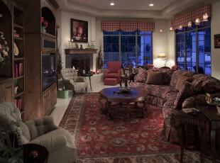 新古典豪华客厅,精美的地毯、华丽的家具无不彰显着高贵,奢华与大气。,客厅,新古典,窗帘,灯具,原木色,红色,白色,