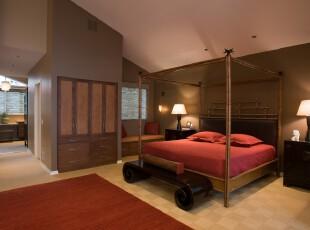 简约中式卧室,古朴大气。,卧室,简约,中式,墙面,地台,灯具,窗帘,红色,原木色,黑白,