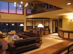 现代开放式客厅,典雅大气。,客厅,现代,灯具,墙面,过道,原木色,黄色,