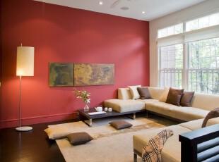 现代简约客厅,简洁明亮。,客厅,宜家,现代,简约,红色,黄色,白色,灯具,墙面,