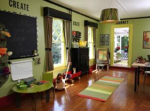 ,儿童房,田园,绿色,