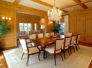 现代原木餐厅,豪华大气。,餐厅,现代,原木色,白色,灯具,餐台,墙面,