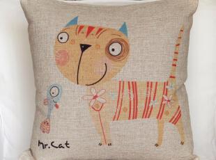 四月新款Mr.cat系列,猫咪5号抱枕。如果你不能养一只猫咪,就让它陪你;如果你养了猫咪,你不在家,让它陪你的猫咪。,地中海风情,靠垫,