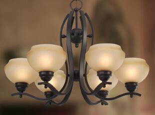 【材质】: 铁艺+吹制玻璃 【颜色】: 手工咖啡色+手工仿古玻璃,传统格调,灯具,