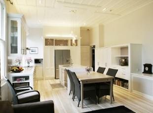 现代简约主义厨房和餐厅,空间敞亮、整洁。,厨房,餐厅,现代,简约,白色,黑白,餐台,收纳,