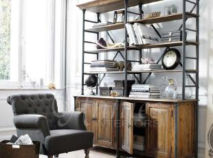 出口法国切斯特顿橡木四门铁架书柜,传统格调,书架,