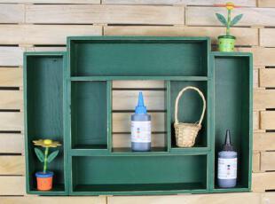 壁挂式收纳柜 经典绿收纳柜 做旧收纳 超大款 绿色 櫊板 罢物架,地中海风情,壁架,