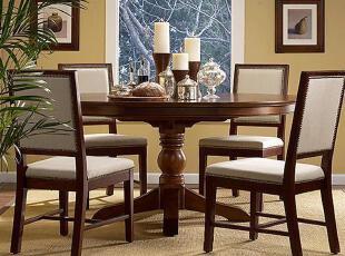 AllPine8全松发仿Harbor House家具Parker可拉伸圆桌,传统格调,餐桌椅,