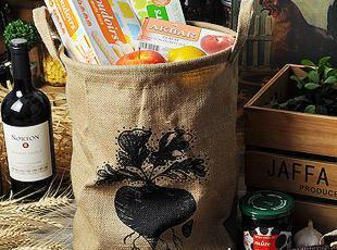 zakka杂货 麻质双耳收纳框 收纳袋 储物框 (萝卜),现代主义,收纳篮,