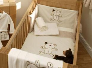 英国mothercare风纯棉婴儿床品4件套加高长床围 我的小泰迪,现代主义,婴儿床,