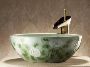 手工雕刻、颜色釉,传统格调,浴室台盆,