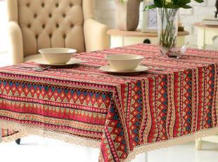 色泽艳丽,花纹繁复,异域的波西米亚风情桌布给你别样的家居空间。,当代风格,桌布,