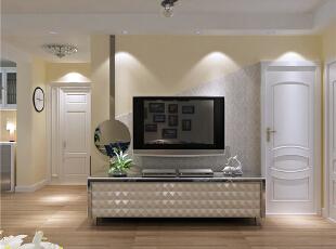 客厅:吊顶和背景墙相互呼应,加入简单的曲线,通过墙漆颜色和壁纸颜色的搭配,表现出客厅颜色淡雅。电视背景墙制作,用对角线的方式来解决背景墙较短的缺陷。,