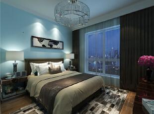 主卧室:应业主要求,立面全部壁纸,颜色为暖色,达到婚房温馨、甜蜜喜庆的效果。阳台保留原有空间做为健身区域。,