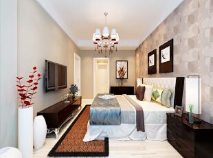 设计理念:卧室背景墙上印花壁纸与整体同色系的壁纸交相呼应,黑胡桃色的家具软装的搭配,更加体现了设计师对配色的巧妙运用。 亮点:毛绒软质的地毯运用让原本线条的组合又不失柔美。相物的点缀更体现了生命的气息。,