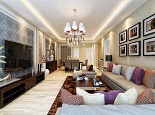 设计理念:淡雅的客厅使空间更有味道,大量驼色的运用,让空间融合起来。墙面采用壁纸搭配石膏线条加上窄距变化的铺陈,使客餐厅更加和谐统一,它凝结着设计师的独具匠心,既美观又实用。 亮点:浅色系的沙发配以紫色的抱枕增加一抹亮色。黑胡桃电视柜与地毯的交相呼应,使空间更加沉稳有韵律感。,