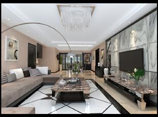 大方沉稳,客厅,现代,黑白,