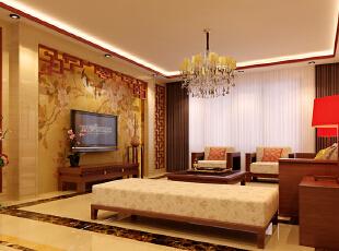 设计理念:新中式的客厅有的不只是传统中式的沉稳大气,更多的是轻松和淡雅。本案的硬装设计中没有做过多的繁杂造型,而是通过雅致的壁纸和镂空隔断来体现风格。 亮点:清新优雅的中式壁纸、中式元素的木雕镂空隔断,处处流露着中式传统元素的气息。搭配简洁的地砖,使整个客厅空间更加干净明亮,使中式传统色调的沉闷感一扫而空。,