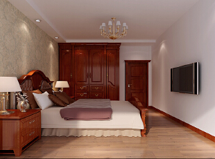 设计理念:家是身心休憩的港湾,而卧室作为家的重要组成部分,它的功能作用就是休息,因此卧室的设计旨在简单舒适,躺在床上的时候可以毫无干扰。 亮点:卧室的地面使用现代简洁的地板铺装,使人走在卧室感觉更加舒服。搭配浅色的壁纸,使卧室空间更加协调,同时带给房子的主人温暖安心的感觉。,